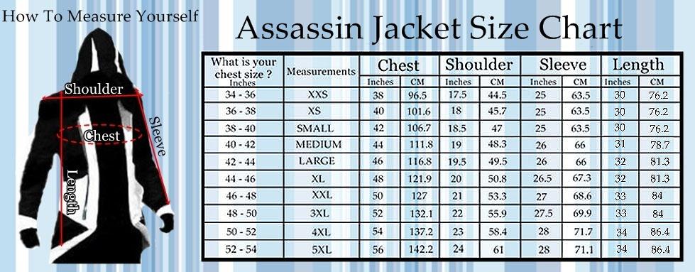 assasin Size Charts